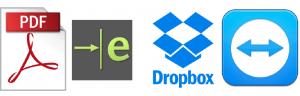 pdf, edrawings, dropbox logos